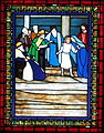 Saint Matthew the Apostle Church (Gahanna, Ohio) - stained glass, the Annunciation - detail, Christ Among the Doctors.JPG