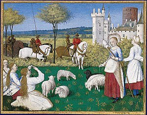 Prefect - Saint Margaret attracts the attention of the Roman prefect, by Jean Fouquet from an illuminated manuscript
