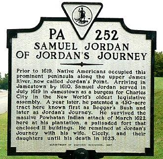 """Jordan Point, Virginia - Historic marker at location of """"Jordan's Journey""""."""
