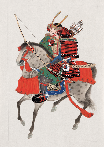 A mounted samurai with bow and arrows, wearing a horned helmet. Circa 1878. Samurai on horseback.png