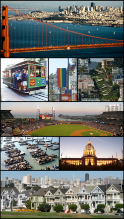 Clockwise from top: Golden Gate Bridge, San Francisco cable car system, A rainbow flag in The Castro, Lombard Street, San Francisco, AT&T Park, Fisherman's Wharf, San Francisco, San Francisco City Hall, and Alamo Square.