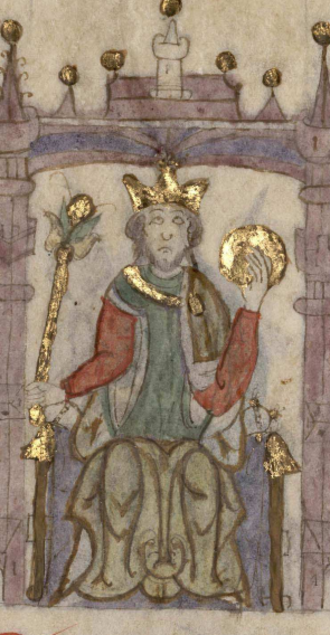 Sancho III of Castile - Sancho III of Castile in the Castilian manuscript Compendium of Chronicles of Kings (...) (c. 1312-1325). Currently located at the National Library of Spain
