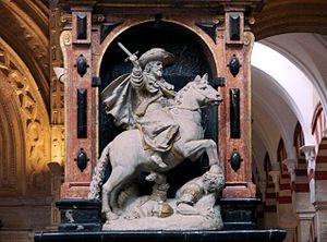 Saint James Matamoros - Statue of James Matamoros, Mosque–Cathedral of Córdoba, Spain