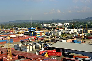 View of the city's container port
