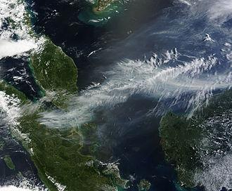 2013 Southeast Asian haze - A NASA satellite image of the haze on 19 June 2013.