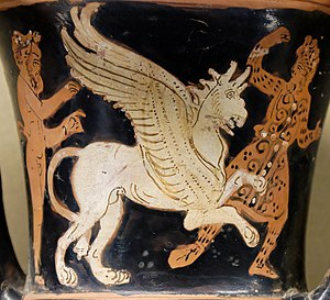 Arimaspi - Battles between griffons and warriors in Scythian tunics and leggings were a theme for Greek vase-painters. Spiritual descendants of the one-eyed Arimaspi of Inner Asia may be found in the decorative borderlands of medieval maps and in the monstrous imagery of Hieronymus Bosch.