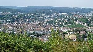 Blick auf Schaffhausen vom Cholfirst her gesehen