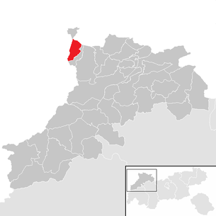 Location of the community of Schattwald in the Reutte district (clickable map)