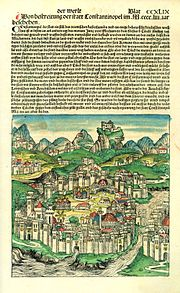 Page depicting Constantinople in the Nuremberg Chronicle published in 1493, forty years after the city's fall to the Turks