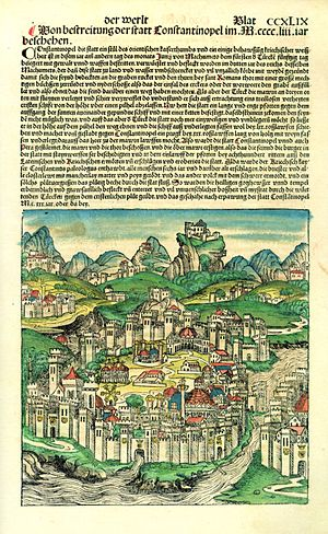 Nuremberg Chronicle - Page depicting Constantinople with added hand-colouring