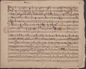 Symphony, D 708A (Schubert) - First page of Schubert's sketches for his projected Symphony in D, D.708a