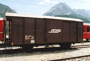 Goods wagon - Small covered van on the RhB in Switzerland