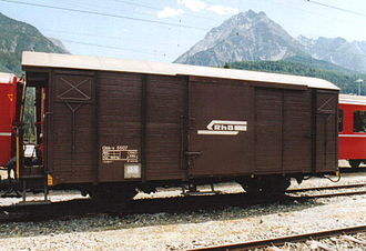 Covered goods wagon - Ordinary covered wagon with central side door on the Rhaetian Railway in Switzerland