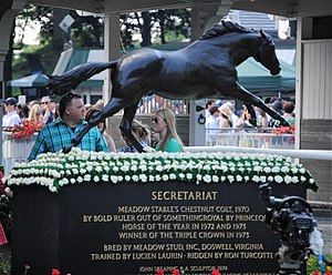 Belmont Park - A statue of Secretariat stands in the middle of the walking ring