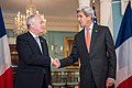 Secretary Kerry Shakes Hands With French Foreign Minister Ayrault After Addressing Reporters in Washington (27837909404).jpg