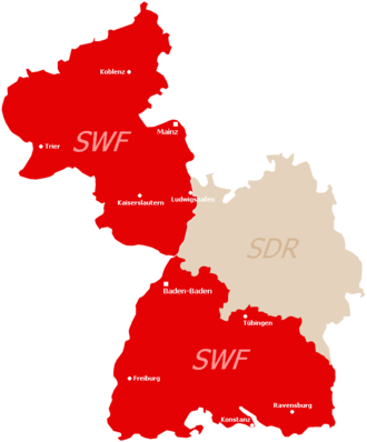 History of Südwestrundfunk - Broadcast area of SWF and SDR in Rhineland-Palatinate (top left) and Baden-Württemberg (right)