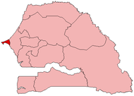 Location of Dakar in Senegal
