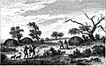 Seven Years in South Africa, page 96, Koranna huts in the valley of the Harts River.jpg