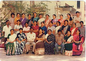 An old photo of the teachers of the Sharon School