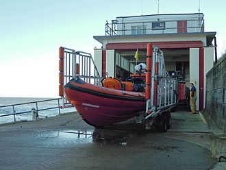 RNLB The Oddfellows (B-818) - The Oddfellows outside the station just before launch