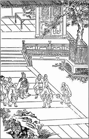 Water Margin - Illustration of a game of cuju from Water Margin, from a 15th-century woodcut edition.
