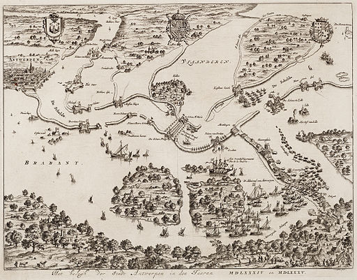 Siege of Antwerp 1584-1585 - Het belegh der stadt Antwerpen in den jaeren MDLXXXIV en MDLXXXV (Jan Luyken, 1679)
