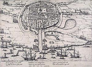 Siege of Middelburg (1572–74) - Image: Siege of Middelburg Beleg van Middelburg in 1574 (Frans Hogenberg)