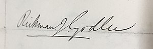 Rickman Godlee - Image: Signature Rickman Godlee 1877, Royal Medical Chirurgical Society Obligation Book 1805