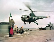 Sikorsky HO3S-1 of HU-1 takes off from USS New Jersey (BB-62) off Korea on 14 April 1953 (80-G-K-16320)
