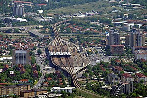 Skopje Train Station from Mount Vodno.JPG