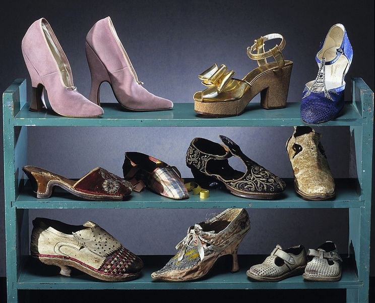 Shoes on display at Nordiska Museum