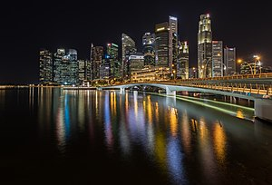 Skyline of the Central Business District of Singapore with Esplanade Bridge.jpg
