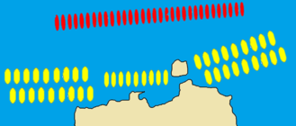 Battle of Arginusae - The Athenians (yellow) used an unusual tactic with which they prevented a diekplous