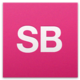 "A pink background with ""SB"" written in white"