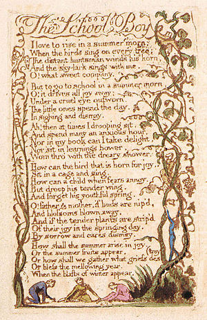 The School Boy - Image: Songs of Innocence, copy B, 1789 (Library of Congress) object 7 53 The School Boy