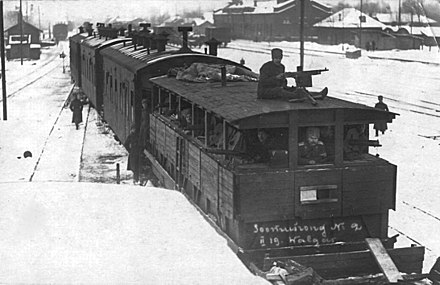 Estonian armoured train during the Estonian War of Independence. Soomusrong nr 2 Valgas 1919.jpg