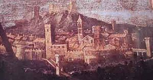 Sora, Lazio - The city and the ducal palace in 1604.