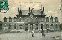 Souillard - PERONNE (1909) - La Gare en construction.JPG