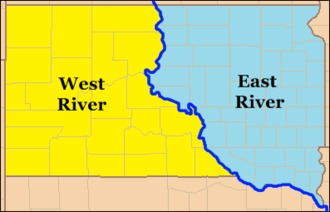 West River (South Dakota) - The Missouri River divides South Dakota into the regions of West River (yellow) and East River (blue).