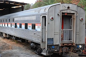 Slumbercoach - Loch Arkaig, still in Amtrak livery, at the Southeastern Railway Museum.