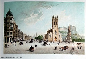 Church of St John the Evangelist, Edinburgh - 1889 view looking east along Princes Street, with the church to the right in front of St Cuthbert's Church and Edinburgh Castle.