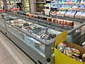 Spar Supermarket in Fusa, Hordaland, Norway 2018-03-21. Chest freezers with glass lids for frozen meat, etc. A.jpg