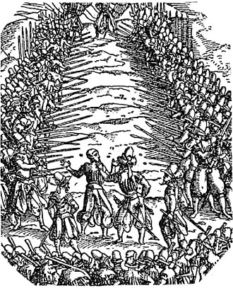 Running the gauntlet - Spiessgasse (pike-alley), from the Frundsberger War Book of Jost Amman, 1525