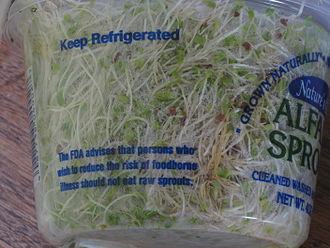 Bean sprout - FDA health warning on a sprouts package