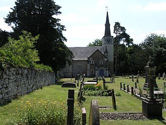 Gatton Park - St Andrews Church, Gatton showing grave of Jeremiah Coleman (large headstone far right)