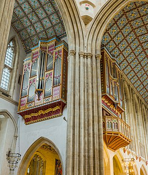 St Edmundsbury Cathedral - The two organ cases, in the north transept and north choir