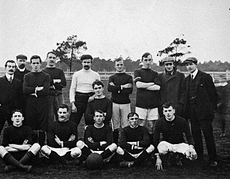 Soccer in Australia - St Kilda British Football Club at Middle Park, 1909 – one of the earliest known photographs of a soccer club in Australia.