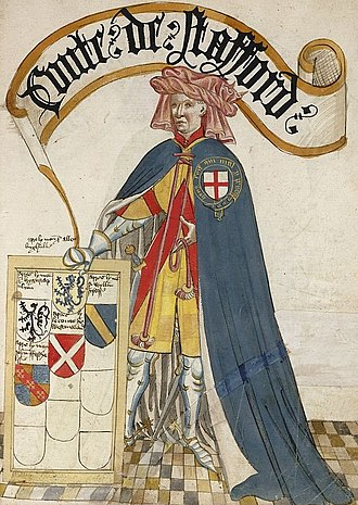 Ralph de Stafford, 1st Earl of Stafford - Ralph de Stafford, 1st Earl of Stafford, KG, illustration from the Bruges Garter Book, c. 1430