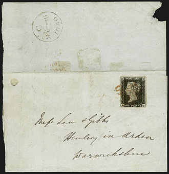 First day of issue - First day cover of the world's first postage stamp, the Penny Black, used on May 6, 1840 is verified by the datestamp on the backflap