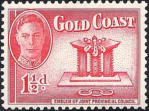 Gold Coast (region) - 1930s Stamp Gold Coast Golden Stool with George VI.